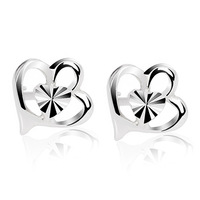 2013 birthday gift fashion heart 925 pure silver stud earring female silver jewelry