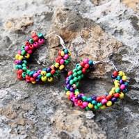 National trend accessories yunnan national accessories handmade beaded earrings hoop earrings national earrings color bead