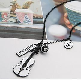 Free shipping violin keyboard notes multi-pendant necklace(China (Mainland))