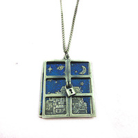 New 2013 retro dark night window pendant necklace vintage unisex sweater necklace good quality fashion necklace gift jewelry
