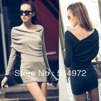 Best selling!!Irregular shoulder the hypotenuse design slim women dress long-sleeved mini dress free shipping