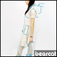 Bearcat transparent Sky Blue bordered hooded poncho adult raincoat poncho lovers long design y7