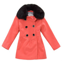 Wholesale 6pcs winter red black Children Child girl Kids baby double brested fur collar long sleeve coat jacket outwear LCDS0804