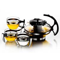 Heat-resistant glass tea set herbal tea set 1 pot 4 cup bl1117 coffeecakes cup glass tea set,Free shipping