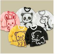 boys girls  t shirt fit 1-5yrs baby kids draw tee  long sleeve t shirt children clothing 25pcs/lot 5 color 5 size free shipping