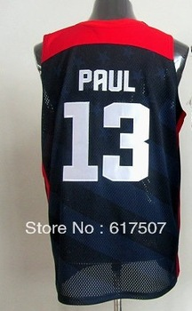 Free Shipping,USA 2012 Olympic Games #13 Chris Paul Men's Basketball Jersey,Embroidery logos,Size S--3XL,Accept Mix Order