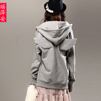 Female autumn and winter lovers wings casual with a hood fleece sweatshirt cardigan thickening outerwear
