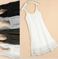 2012 summer women's plus size solid color cotton lace decoration spaghetti strap slip long
