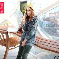 2013 normic drawstring fashion slim waist loose retro female medium-long finishing denim trench cardigan denim outerwear