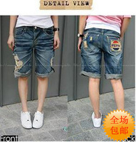 2013 spring and summer hole jeans capris knee-length pants casual pants denim shorts For wome