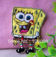 Free Shipping~30 pcs/lot, Wholesale Iron On Patches,Embroidered SpongeBob SquarePants  Sew On Patch DIY accessory