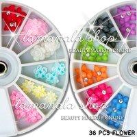 36 PCS 3D FIMO & DIAMOND CRYSTAL FLOWER NAIL ART CRAFT Salon School Decoration