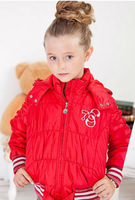 Wholesale 5 pcs Autumn winter red pink black Children girl Kids baby hoody hooded coat jacket outwear age for 6-15Y LADS0918