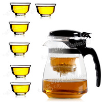 Elegant cup heat-resistant glass tea set flower pot xbl1029-1 glass cup 2 cup,Free shipping