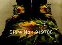 2013 New Beautiful 100% Cotton 4pc Doona Duvet QUILT Cover Set bedding sets Full Queen King 4pcs black yellow sunflower