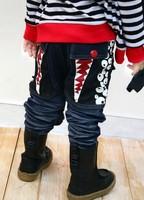 2014 new arrival fashion hot sell big tooch eyes pattern teeth design denim pants elastic waistline children jeans