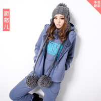 New arrival 2013 winter casual fleece thickening sweatshirt vest three pieces set