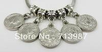 Hot sale 50pc wholesale Fashion DIY Charm DIY Big hole Coin Shaped Pendant CCB dangle bead fit Euopean bracelet  Bangle Jewelry