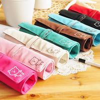 Free Shipping Korea Fashion Brief Multi-functional Bear Canvas Roll Pencil Case/pencil Bag/pen Pocket/Cosmetic Bag Retail