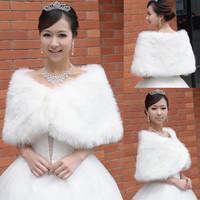 Free shipping White fur shawl fur shawl white bride married white fur shawl wedding wrap formal dress cape mantissas