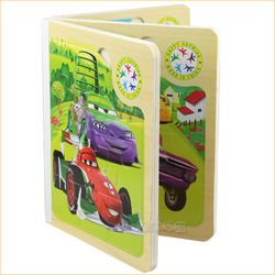 Free Shipping,1pcs Childrens Girls Kids Wooden Book,Colorful Cars 2 Books 3D Puzzle Toys,Educational Toys, Gift(China (Mainland))