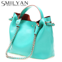 Smilyan 2013 fashion candy cowhide picture chain portable women's one shoulder handbag bags