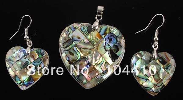 New Beautiful Mother of Pearl Abalone Shell Love heart Pendant Earrings Beads Set Wholesale(China (Mainland))