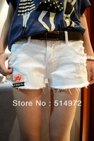 Best selling!!2013women white summer women denim shorts wahsed destroyed hot ladies short pants Beach scanties free shipping