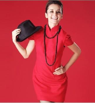 Free Shipping Festive red slim fashion cheongsam dress the wedding formal dress