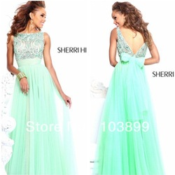 2013 Loveable Empire High Neck Sleeveless Mint Blue Beaded Chiffon Discount Evening Dresses(China (Mainland))