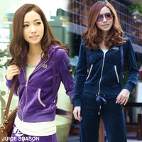 Autumn and winter velvet sports set female diamond slim sweatshirt set spring casual sportswear
