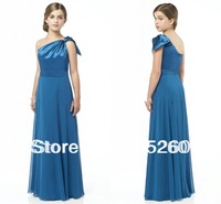Custom Made One-Shoulder Long Chiffon Blue 2013 Junior Bridesmaid Dresses DB089