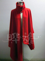 Unique style red poncho outerwear thick wool herringbone wool cape coat outerwear