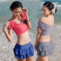 Grebe hot spring swimwear split skirt style small women's push up swimwear 13813