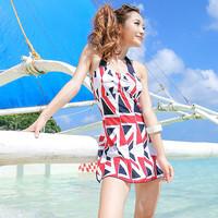 One piece swimwear female tube top national flag skirt female hot spring swimwear