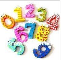 5Packs/Lot (10Pcs/Pack), Creative Wooden Fridge Magnet Sticker, Fridge Magnet,Refrigerator Magnet,Free Shipping Arabic Numbers