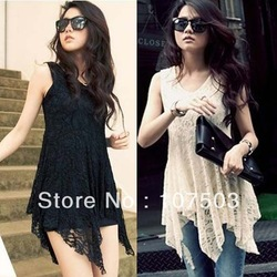 Free shiping Korean Japanese style new 2013 summer irregular hem lace princess sleeveless mini dress Black, apricot w10827(China (Mainland))