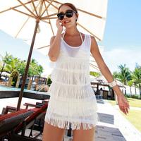 2013 beach dress tassel gauze breathable beach bikini lightmindedness sun protection shirt