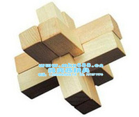 Wooden toy building blocks toy removable toy six kongming lock