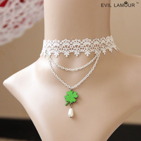 Four leaf clover vintage royal lace necklace female colnmnaris chain gift