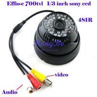 "CCTV camera  48 IR  Effio-e700tvl  1/3""sony  ccd   Day /Night Video camera  with Audio"