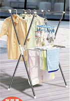 Stainless steel floor double-pole retractable drying rack folding belt flap x hanger hangers