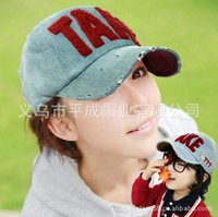 2013 100%  Free shipping Spring Denim TAKE Adult Baseball Caps hats go with parentage clothes
