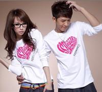 P18 2012 new arrival autumn long-sleeve t-shirt lovers autumn and winter lovers design long-sleeve
