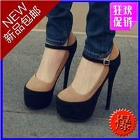 Princess single shoes high-heeled shoes platform velvet platform t 14cm thin heels female shoes