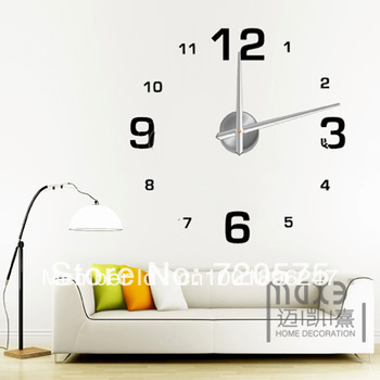decoration home Modern Frameless Large Wall Clock DIY Your Own Style Interior Design MAX3 12S005  Free Shipping