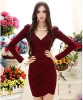 Free Shipping Sexy V Neck Elegant Long Sleeves Wine Red Women's Pleated Dresses Fashion Wholesale Retail Dropship 2014 New In