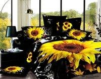 2013 New Beautiful 100% Cotton 4pc Doona Duvet QUILT Cover Set bedding sets Full Queen King 4pcs size black sunflower