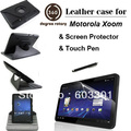 free shipping for Motorola Xoom 360 rotary case + clear screen protector + stylus touch pen, For motorola xoom cover protector