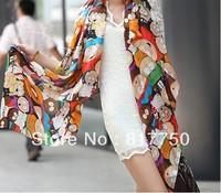 2013 anime figure silk scarf fashion hot silk scarf female cape velvet chiffon scarf for woman SC0262